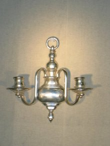 2 Arm Silvered Sconce Early American