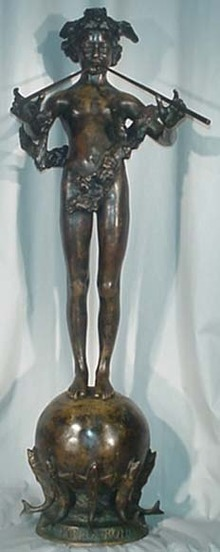 American Patinated Bronze Figure PAN OF ROHALLION by Fredrick MacMonnies
