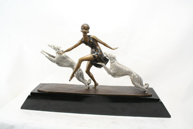 Lg Art Deco Girl W/Two Leaping Russian Hounds