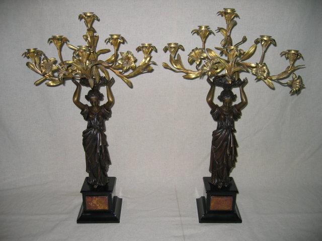 Dore Gold Lady Candelabras