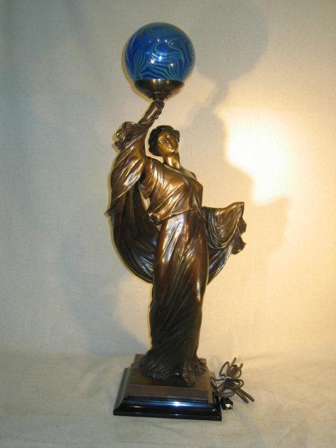 Art Nouveau Lady Newel Post Lamp