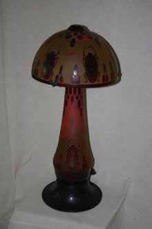 Egyptian Scrab Art Glass Table Lamp