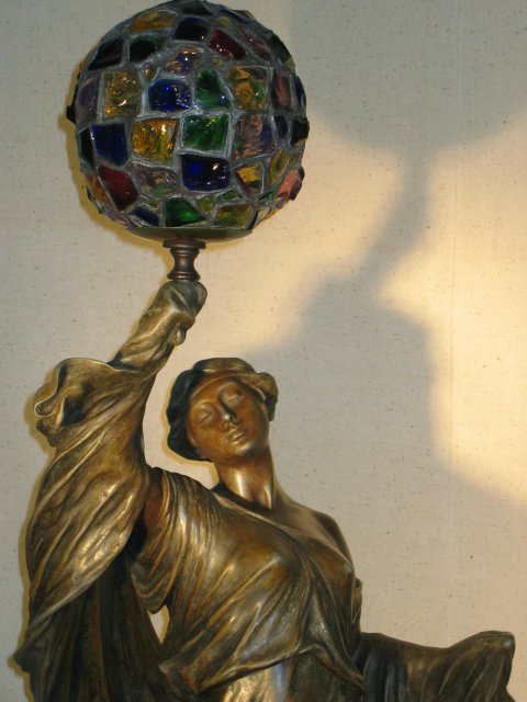 Art Nouveau Lady Newel Post Lamp Spelter