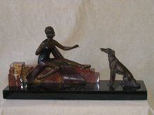 Art Deco Girl with Dog Bronze