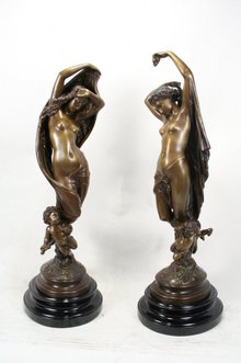 Art Nouveau Reproduction Figurines Bronze