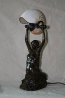 Bronze Nautilus Shell Mermaid Lamp