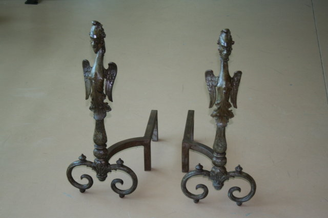 Fireplace Andirons Winged Gargoyle