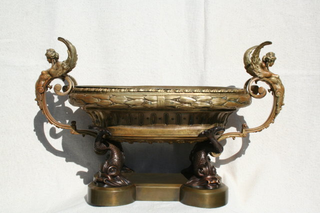 Empire Antique Bronze Winged Lady & Dolphin Centerpiece Bowl
