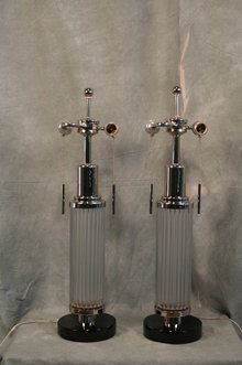 Art Deco Glass Rod Table Lamp