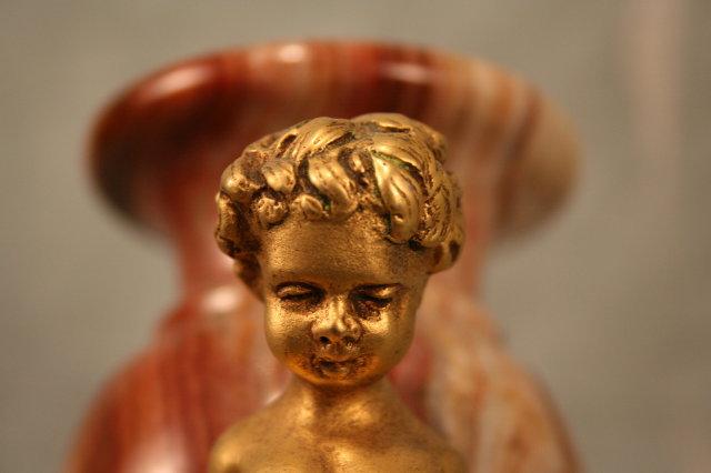 Sm Marble & Dore Bronze Cherub Urns