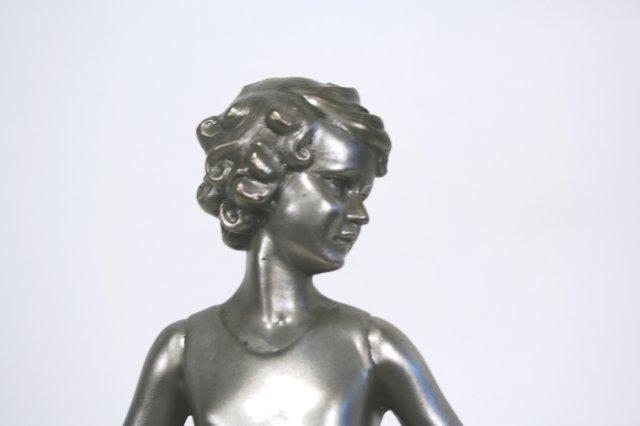 Lost Wax Bronze Art Deco Hoop Girl Figurine in Silver Patina by Ferdinand Preiss