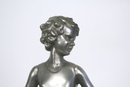 Lost Wax Bronze Art Deco Hoop Girl Figurine in Silver Patina by Ferdinand Preiss