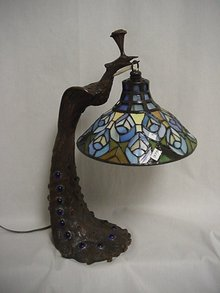 Bronze Tiffany Style Lamp/Peacock Lamp