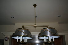 Modern Tole Brass Double Shade Chandelier