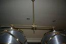 Modern Tole Brass Double Shade Chandelier