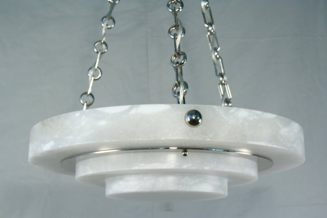 Art Deco Alabaster Tiered Circular Chandelier
