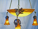 Antique French Bronze & Dore Art Glass Chandelier