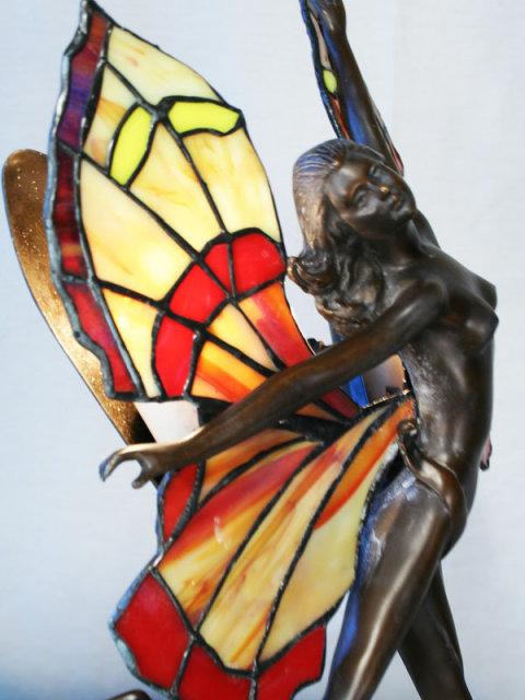 Art Deco Figurine Butterfly Girl Lamp