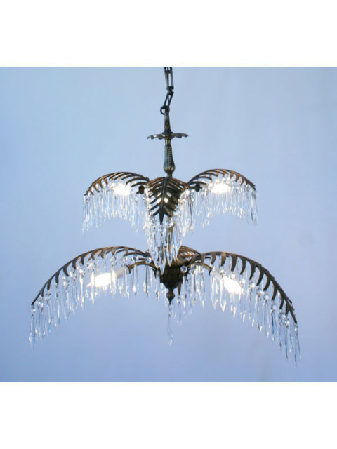 Bronze Crystal Palm Tree Chandelier
