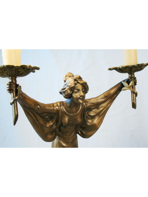Art Nouveau Bronze Lady Lamp