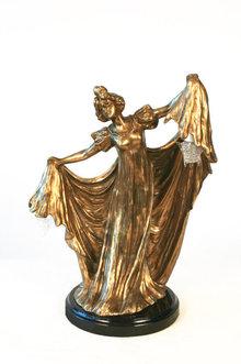 Gustav Gurschner Style Art Nouveau Bronze Lady Lamp