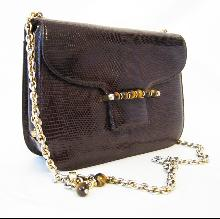Gucci Vintage Dark Brown Genuine Lizard Handbag Purse