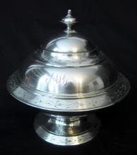 c.1865 COIN SILVER BUTTER DISH/BALL BLACK