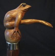 Carved Wood Frog Walking Stick