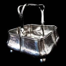 1860 Basket with Handle from Russia, Sterling Silver