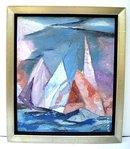 ALFONS BACH (1904-1999) AMERICAN MODERNIST O/B FLORIDA SAILBOATS