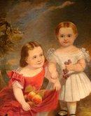 ROBERT AKER S & D 1856 O/C PORTRAIT OF SKINNER CHILDREN PAINTED IN BALTIMORE
