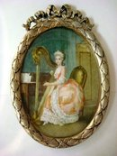ANTIQUE WATERCOLOR ON IVORY MINIATURE PORTRAIT OF COMTESSE DI FOLLEVILLE/BARBER OF SEVILLE/PLAYING A HARP/SIGNED