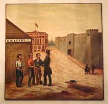 LATE 19th CENTURY OIL AMERICAN FOLK ART GENRE PAINTING/STREETSCAPE 4 X 4.5