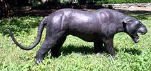VINTAGE LEATHER ANIMAL/BLACK PANTHER SCULPTURE 35