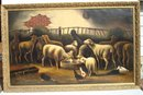FOLK ART SHEEP INSIDE BARN PAINTING O/C EARLY 20TH CENTURY