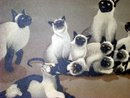 FOUSSA ITAYA CATS/b. PARIS 1919, S&D 1959 SIAMESE CATS & BUTTERFLY  PRINT