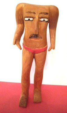 SULTON ROGERS CARVING/SOUTHERN FOLK OUTSIDER ART/HEADLESS MAN/PINE