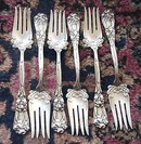 IRIS Durgin FISH FORKS sterling (6)