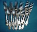 Jenny Lind Dinner Forks Coin Silver 10