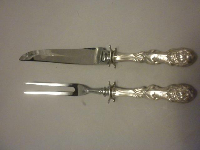Lion Frank Smith Steak Carving set Sterling Silver
