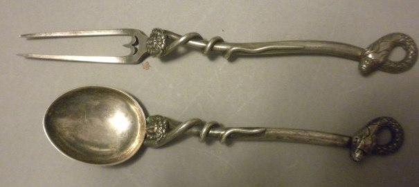 Figural Snake Fork & Spoon Sterling Silver