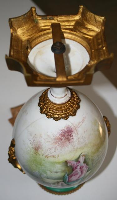 Sevres Urn ormalu handles 1890's figural woman landscape green gold