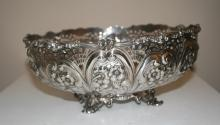 Centerpiece Bowl Sterling circa 1891 pierced with flowers and leaves