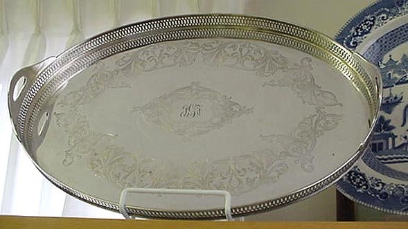 Galleried Tray silverplated Large silver