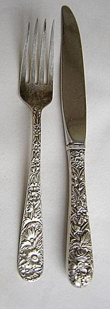 Repousse Child fork & knife S. Kirk & Son