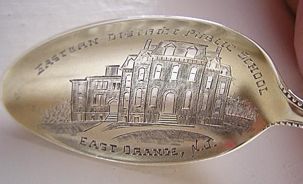 souvenir spoon East Orange NJ Eastern District Public School Gorham Newcastle  Sterling Silver