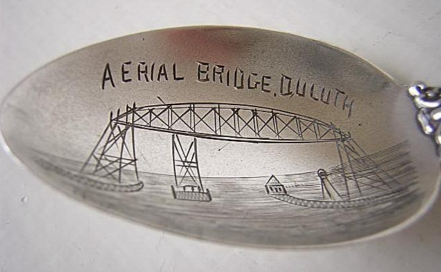 Souvenir spoon  Aerial Bridge Duluth MN  Sterling Silver
