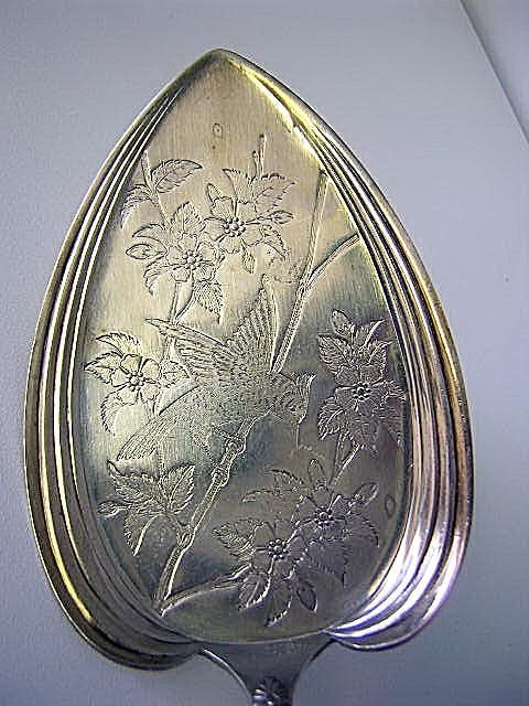 Pie Server bird on branches engraved blade