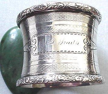 Napkin Ring Coin silver engine turned