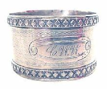 Napkin Ring Coin Silver engine turned engraved